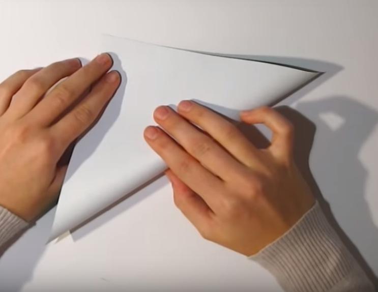 Процесс изготовления деда мороза оригами вариант 1 шаг 1