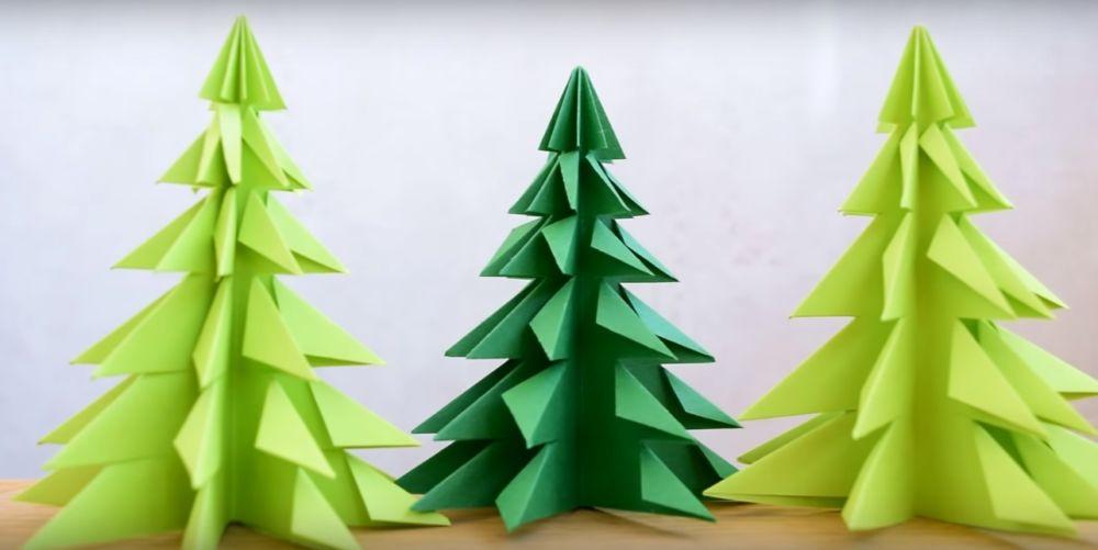 Елка оригами шаг 1