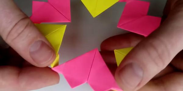 Оригами валентинка из бумаги. Подарок украшение сердце на День влюбленных