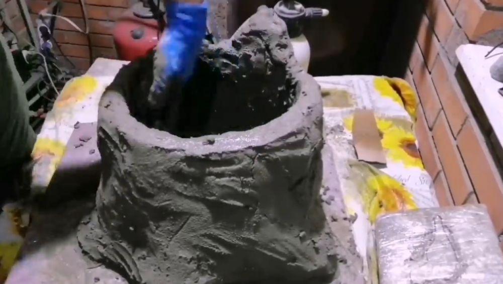 Процесс изготовления пня из цемента шаг 10