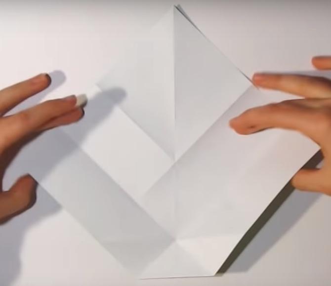 Процесс изготовления деда мороза оригами вариант 1 шаг 11