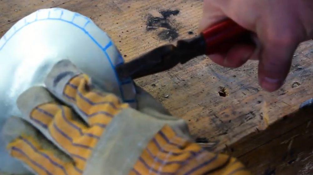 Процесс изготовления шлема рыцаря-крестоносца шаг 13