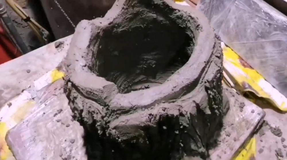 Процесс изготовления пня из цемента шаг 14