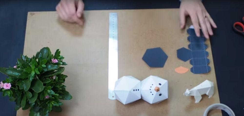 Процесс изготовления снеговика оригами шаг 15