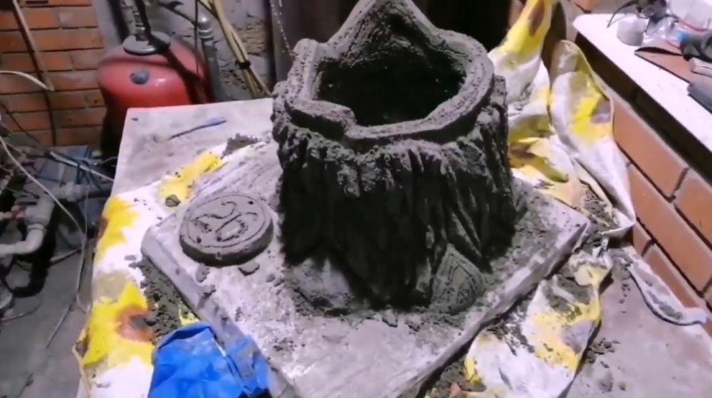 Процесс изготовления пня из цемента шаг 16