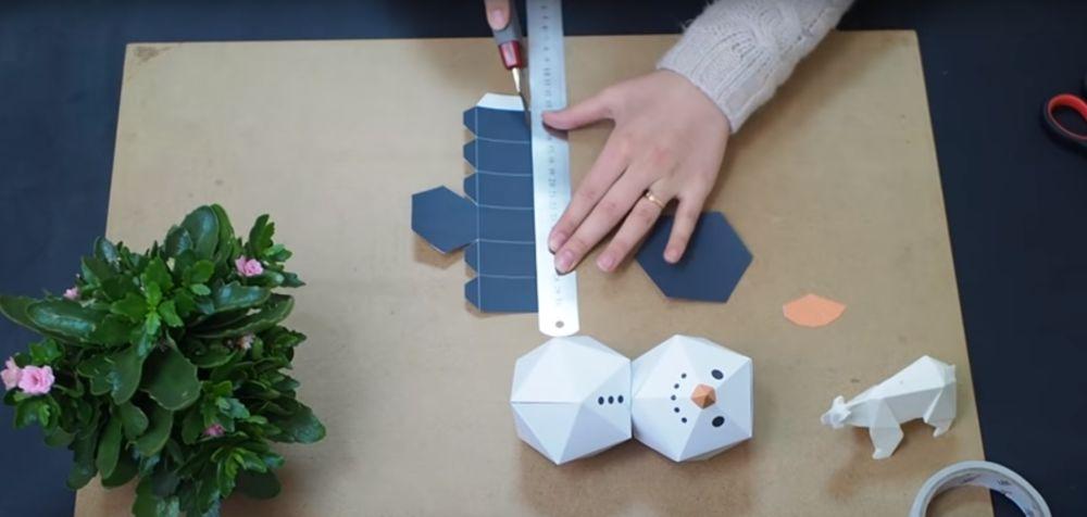 Процесс изготовления снеговика оригами шаг 17