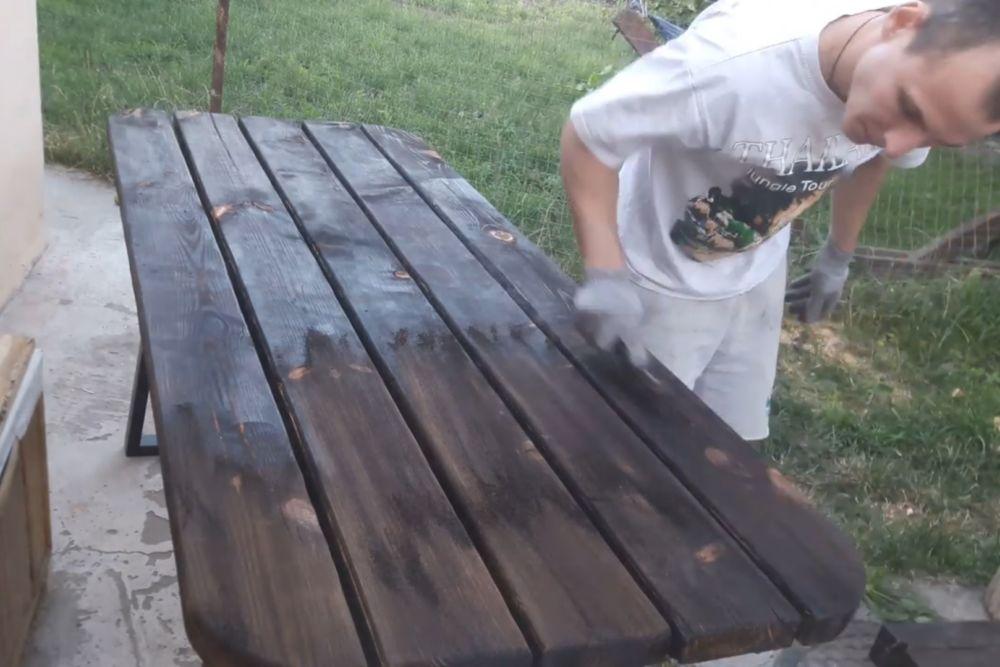 Процесс изготовления деревянного стола шаг 21