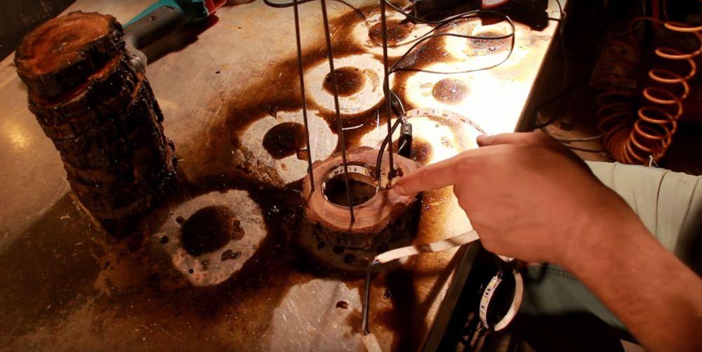 Процесс изготовления светильника из полена шаг 23