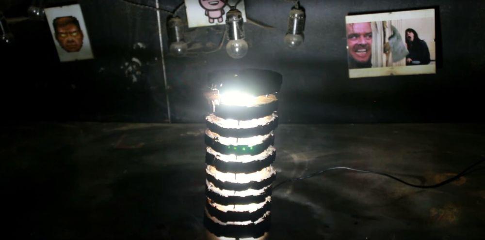Процесс изготовления светильника из полена шаг 28