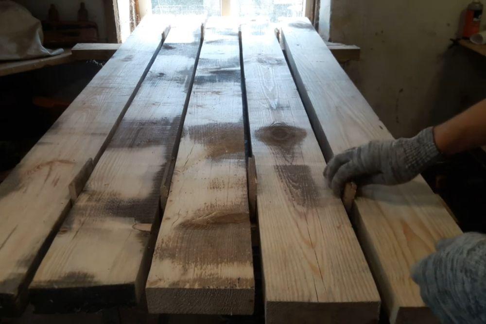 Процесс изготовления деревянного стола шаг 2