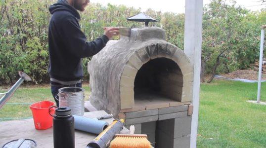Покраска печи после установки грибка на дымоход