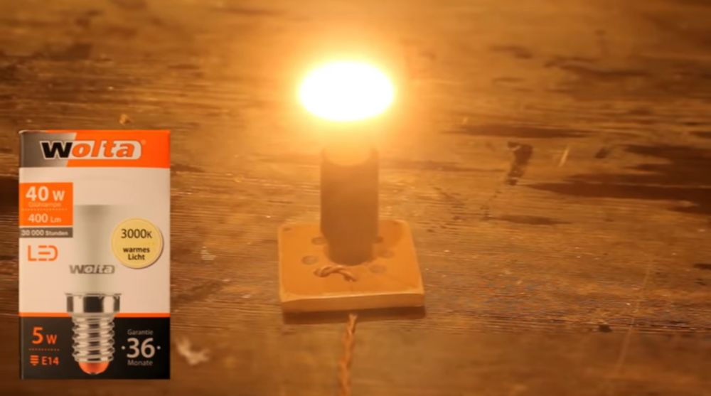 Работа лампы ночника