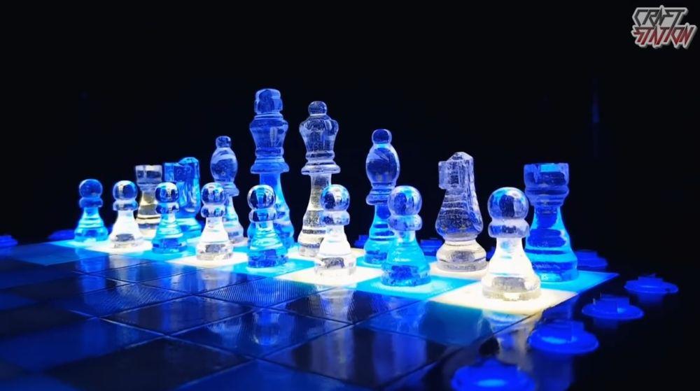 Процесс изготовления шахмат из эпоксидной смолы шаг 47