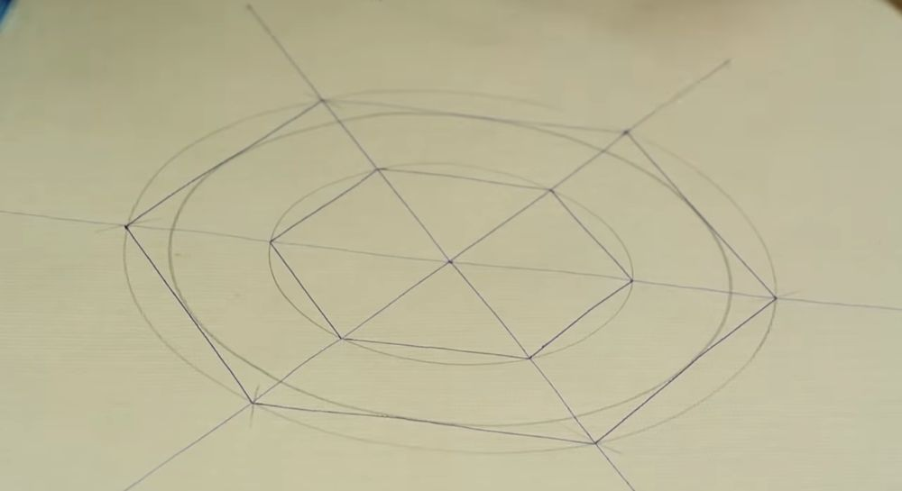 Разбиваем окружность цилиндра на шесть равных частей