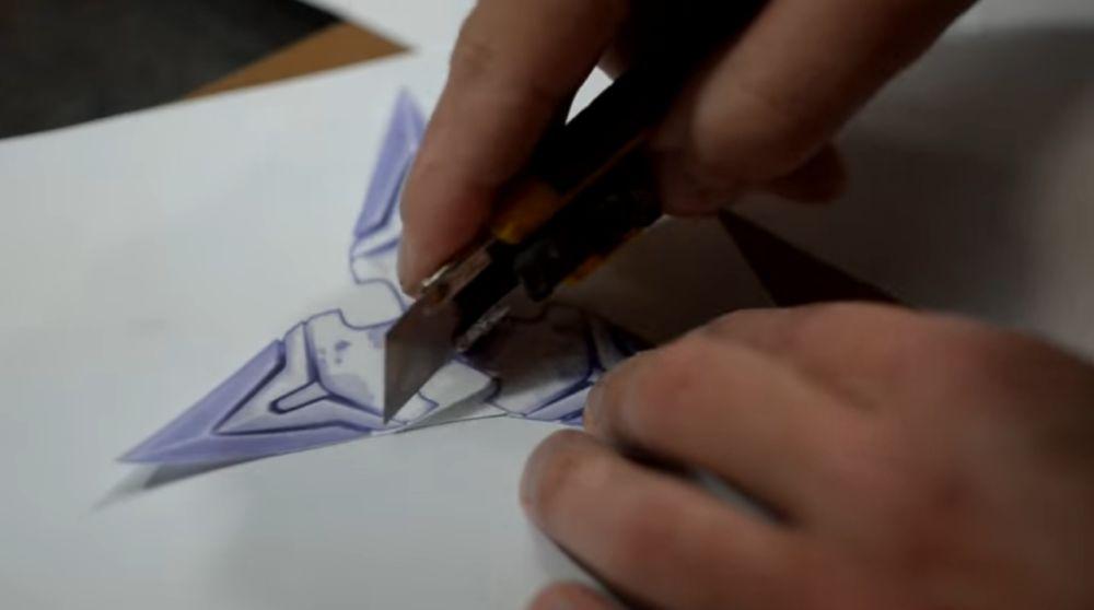 Вырезание макета ножом