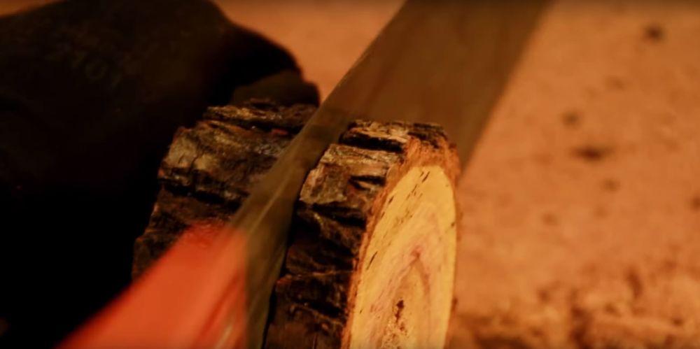 Процесс изготовления светильника из полена шаг 6