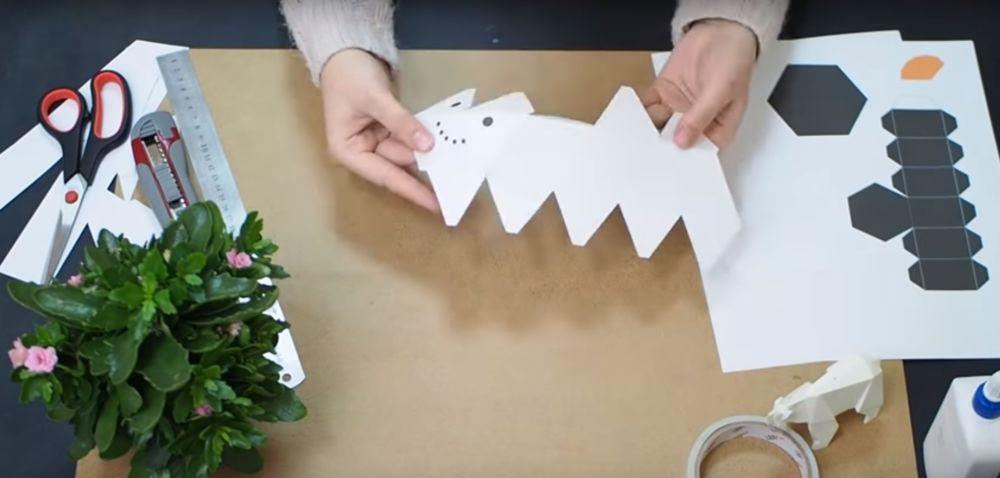 Процесс изготовления снеговика оригами шаг 8