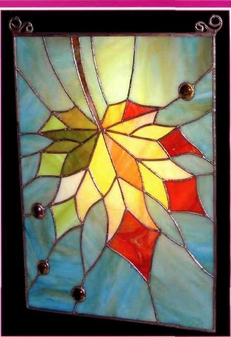 """Витражное стекло в стиле """"кленовы лист"""""""