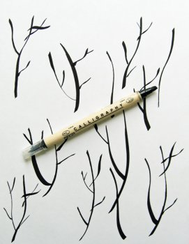 Квиллинг открытка - Вишня цветет