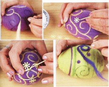 Сухое валяние пасхальных яиц