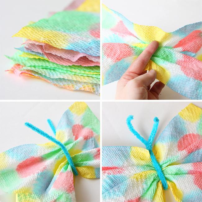 Бабочки из бумажных полотенец