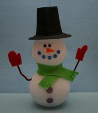 Поделки для детского сада: снеговик из пенопласта