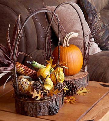 Оригинальная корзинка для осеннего урожая