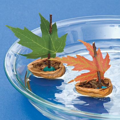 Как сделать кораблик из ореха и листьев