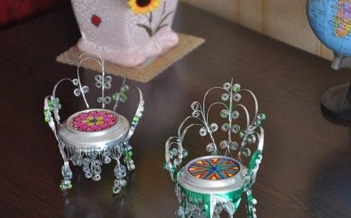 Декоративные стульчики из жестяной банки