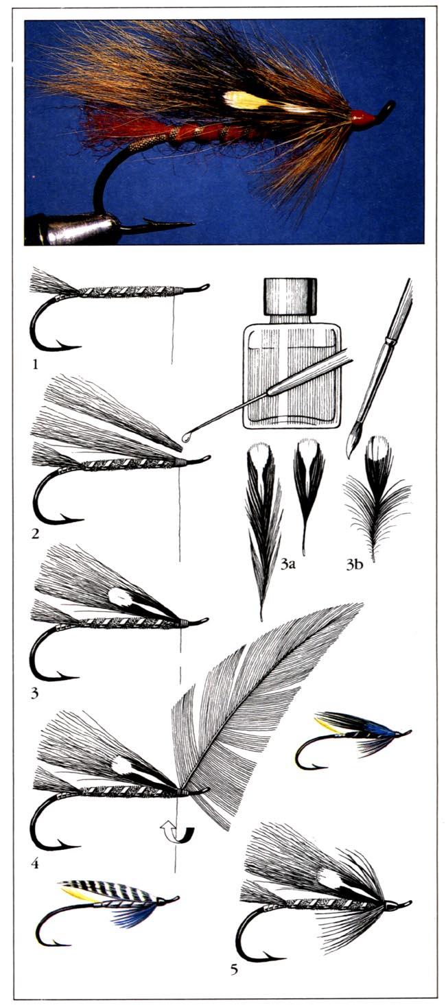 Мушки для ловли лосося с крыльями из меха