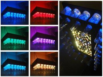 Светящаяся люстра из пивных бутылок