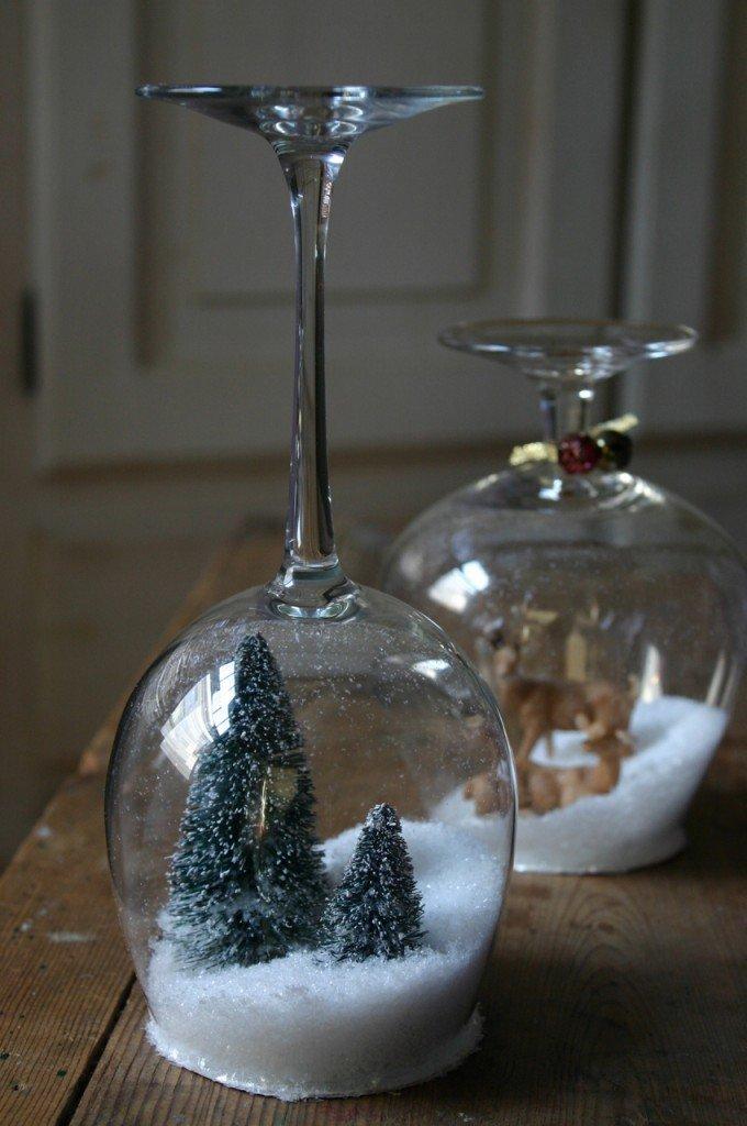 Снежный шар из фужера