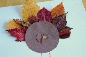 Аппликация индюк из осенних листьев своими руками