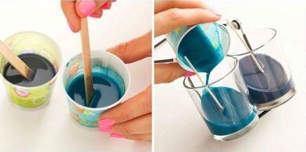Как сделать цветные свечи своими руками