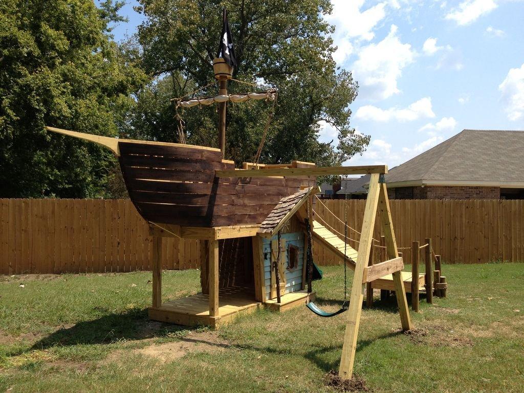 Детская площадка в виде пиратского корабля своими руками