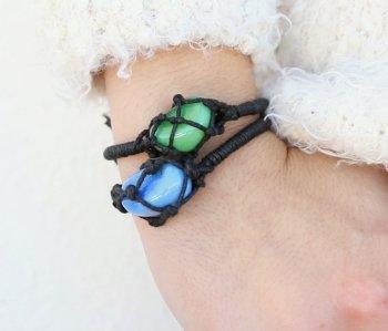 Плетеный браслет с натуральным камнем своими руками