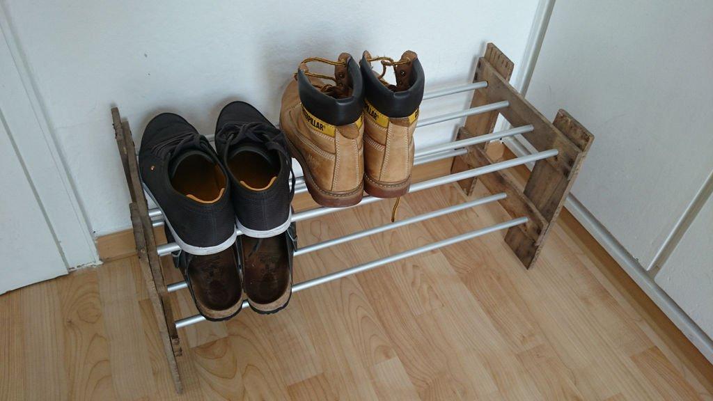 Обувная полка из ящика своими руками