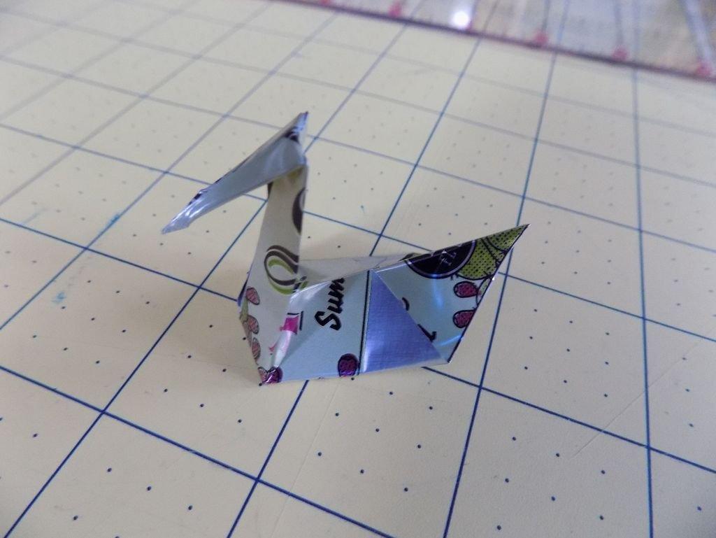 Птица оригами из железной банки своими руками