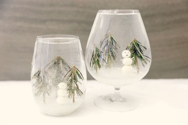 Декор новогодних бокалов своими руками