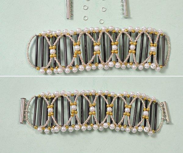 Широкий объемный браслет из бисера своими руками