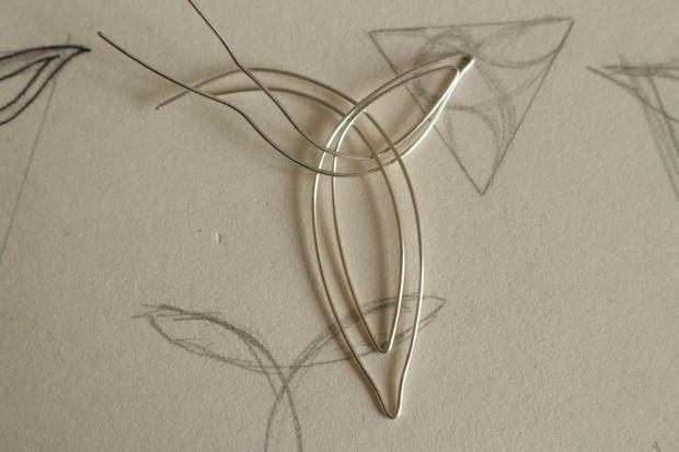 Кулон из проволоки в форме кельтского узла