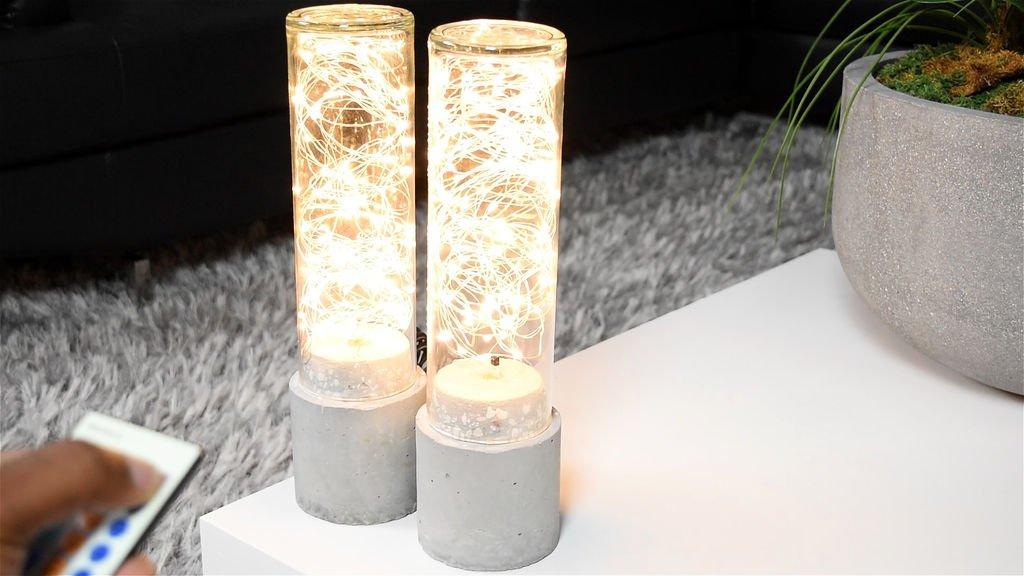 Концептуальные светодиодные лампы из стекла и бетона своими руками