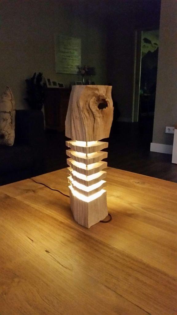 Оригинальный светильник из полена своими руками