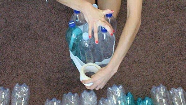 Пуф из пластиковых бутылок своими руками
