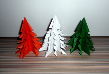 Елка из бумаги оригами