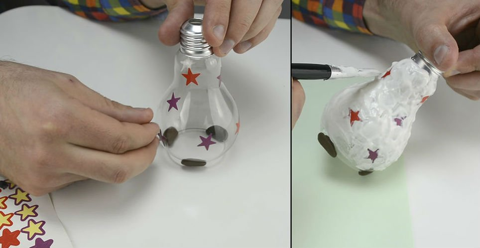 Новогодние игрушки из лампочек своими руками