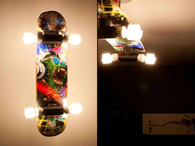 Как сделать лампу из скейтборда
