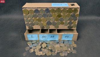 Как сделать картонный аппарат для сортировки монет