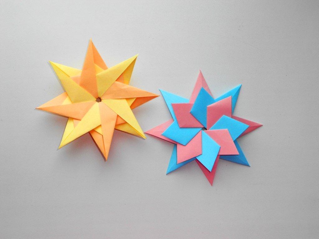 Восьмиконечная звезда оригами  из бумаги