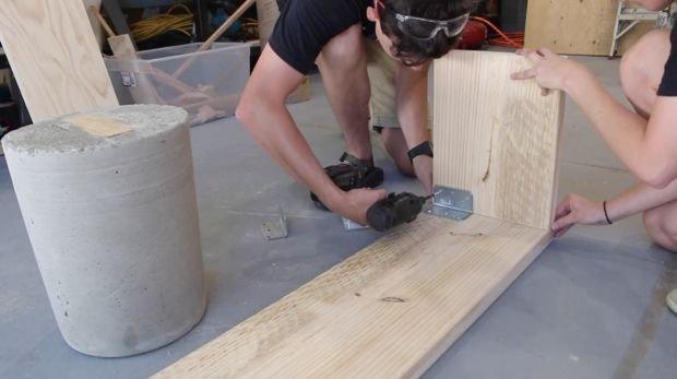 Скамья из бетона и дерева своими руками